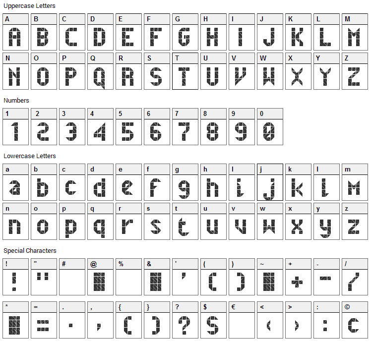 Belfast Font Character Map