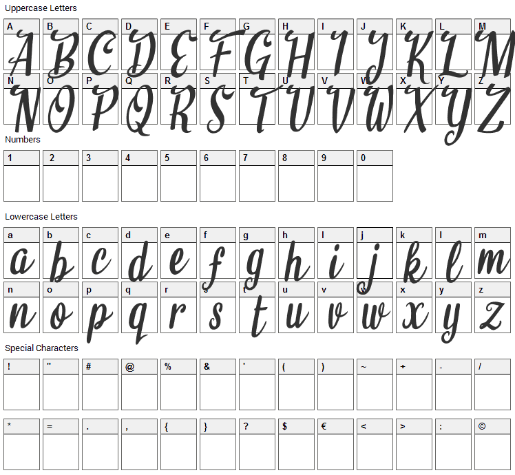 Believe it Font Character Map