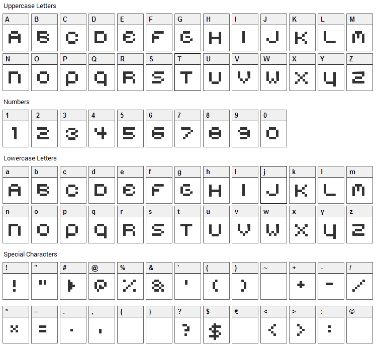 Belmongo Font Character Map