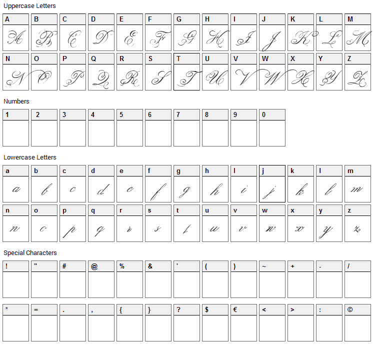 Belphebe Font Character Map
