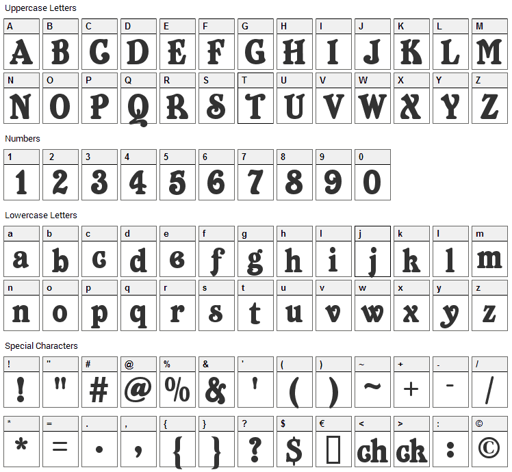 Belshaw Font Character Map