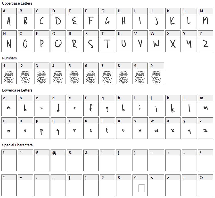 Ben Brown Font Character Map
