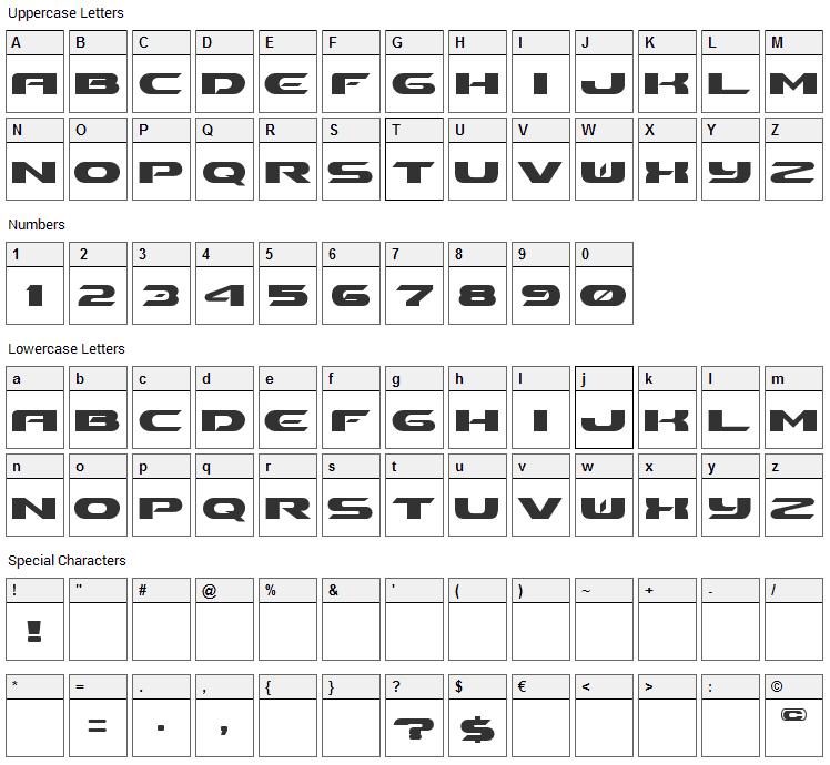 Ben Pioneer Font Character Map