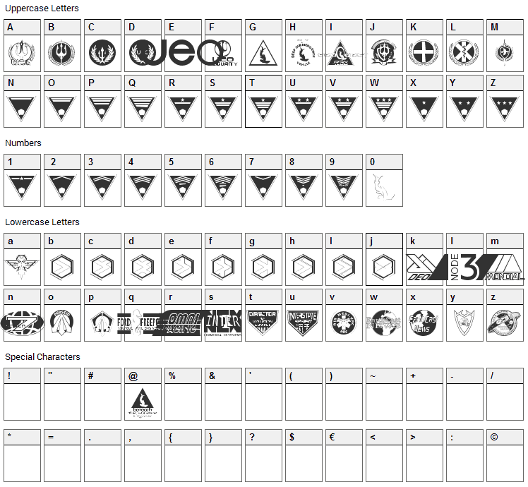 Beneath the Surface Dingbats Font Character Map