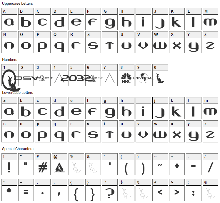Beneath the Surface Font Character Map