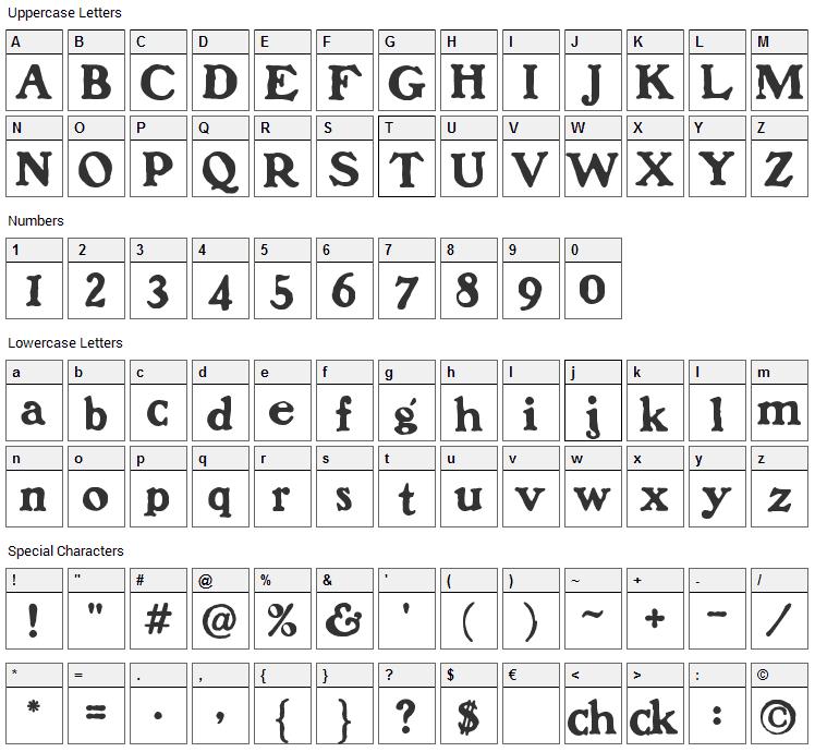 Benjamin Franklin Font Character Map