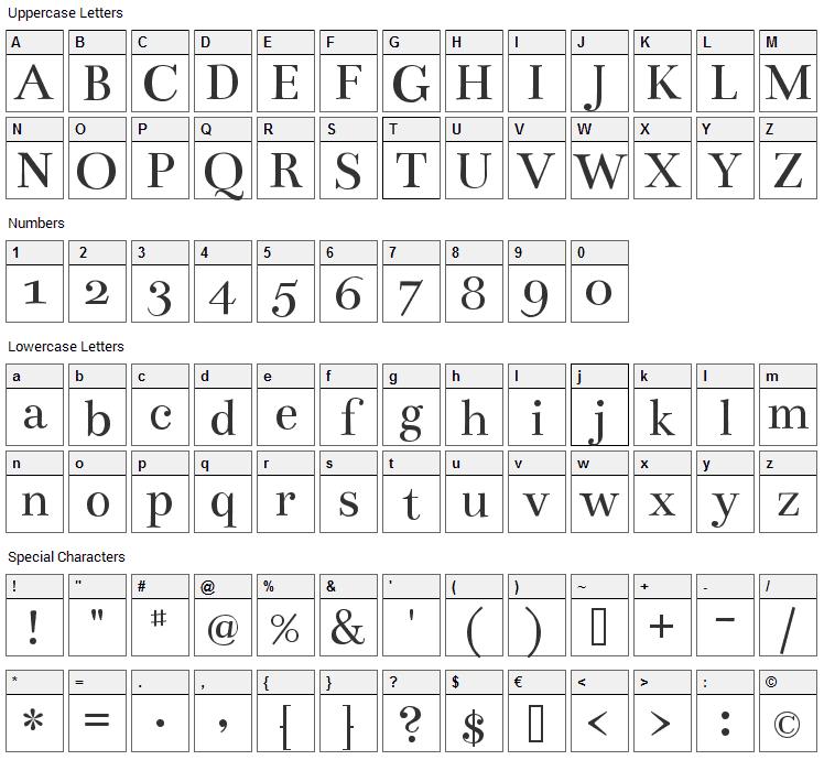 Bentham Font Character Map