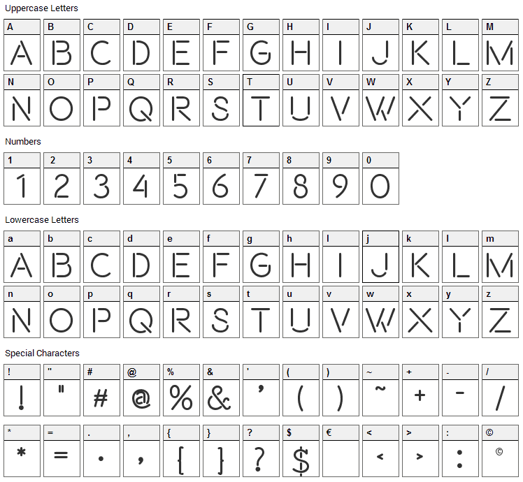Beon Font Character Map