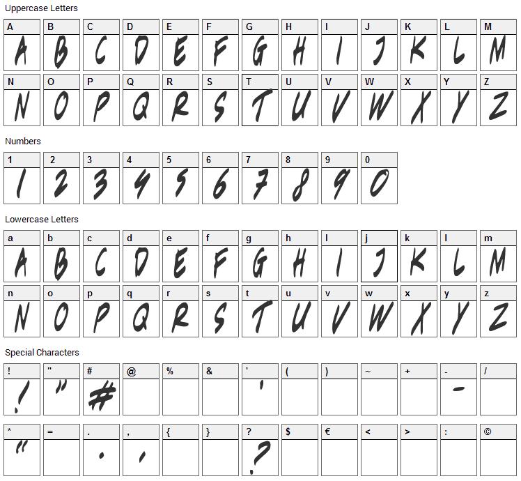 Berantas Korupsi Font Character Map