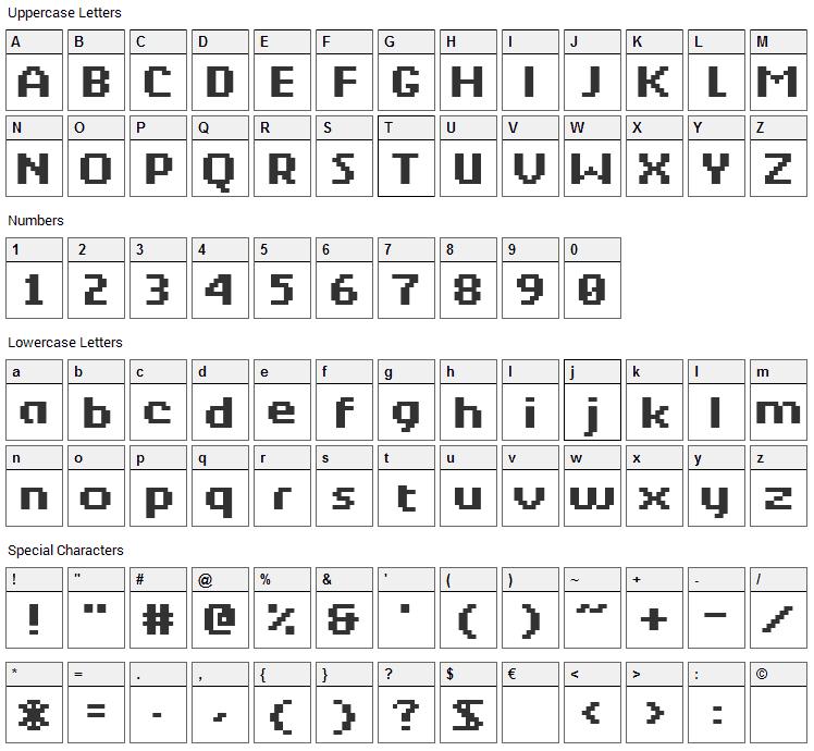 Berkelium Bitmap Font Character Map