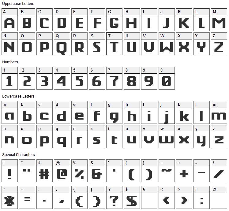 Berkelium Type Font Character Map