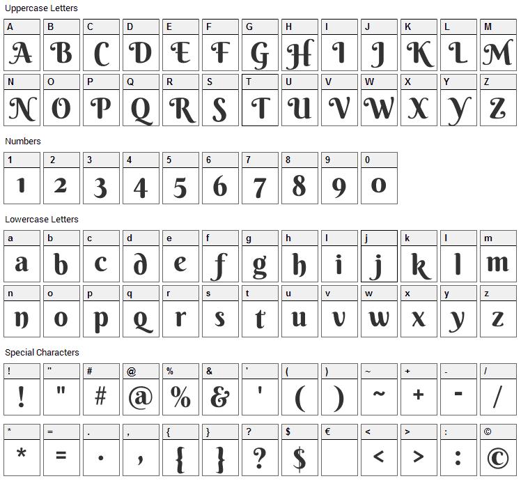Berkshire Swash Font Character Map