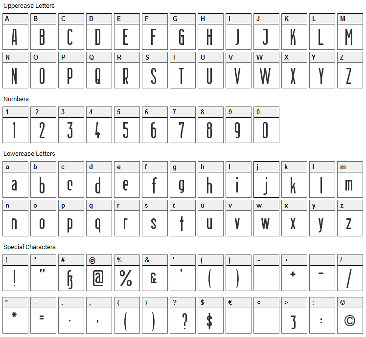 Berlin Email Font Character Map