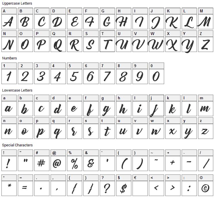 Bernadette Font Character Map