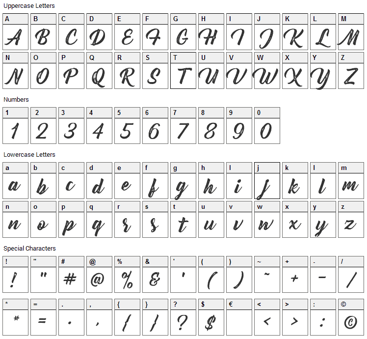 Bernadette Rough Font Character Map