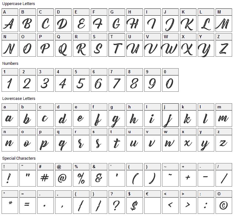 Bernadette Rough Font Character Map