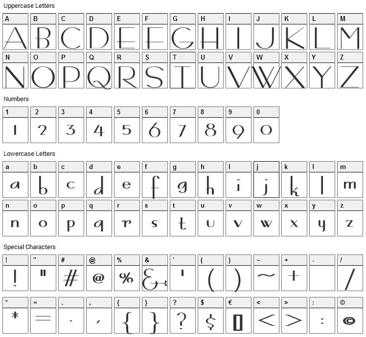 Bernardo Moda Contrast Font Character Map