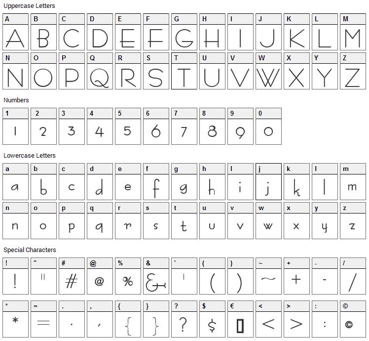 Bernardo Moda Font Character Map
