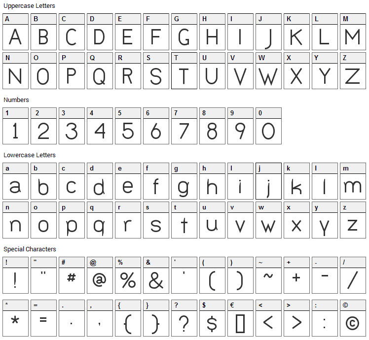 Bernur Font Character Map