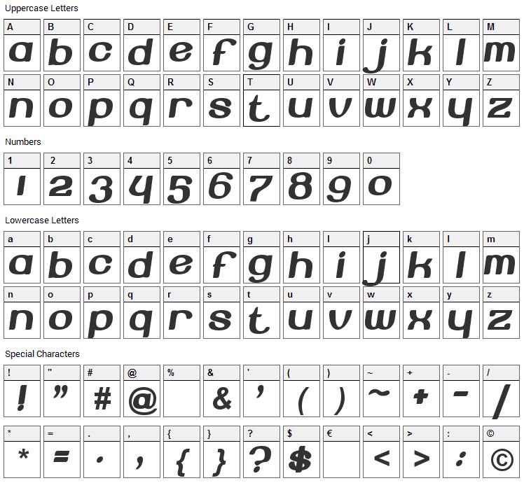 Beroga Font Character Map