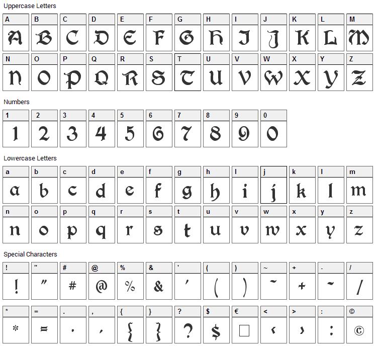 Berry Rotunda Font Character Map