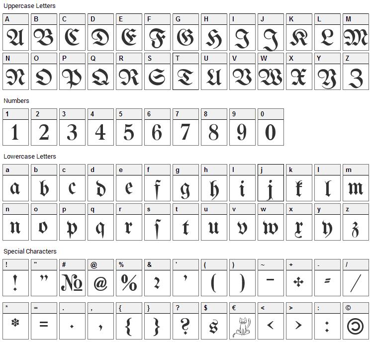 Bertholdr Mainzer Fraktur Font Character Map
