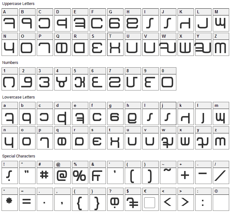 Betazed Font Character Map