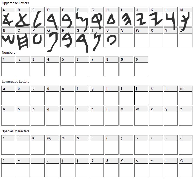 Beth David Font Character Map