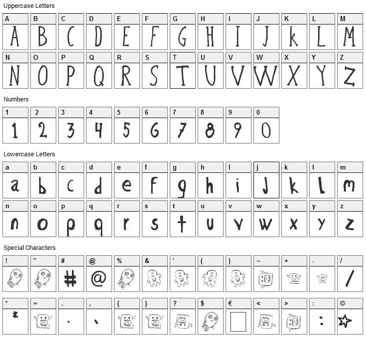 Bicho Plumon Font Character Map
