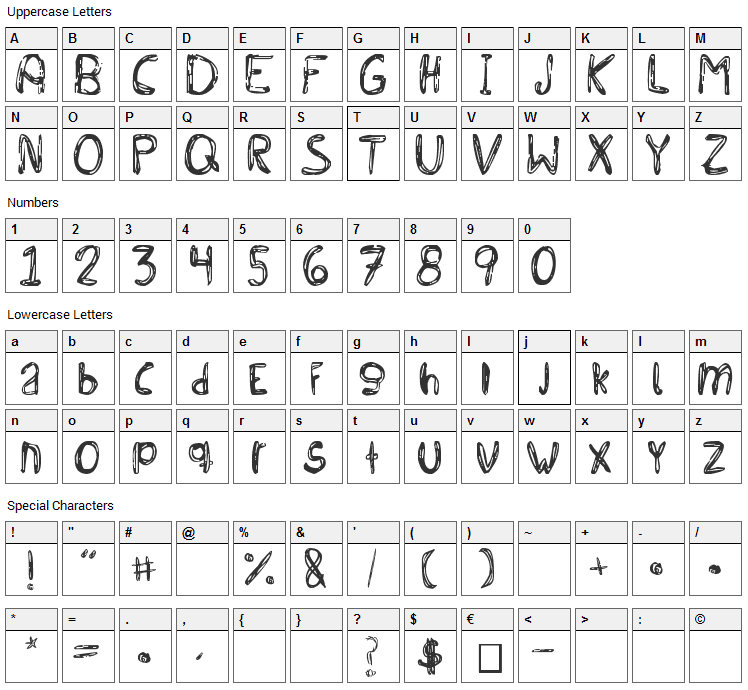 Bichochos Type Font Character Map