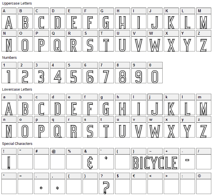 Bicycle Font Character Map