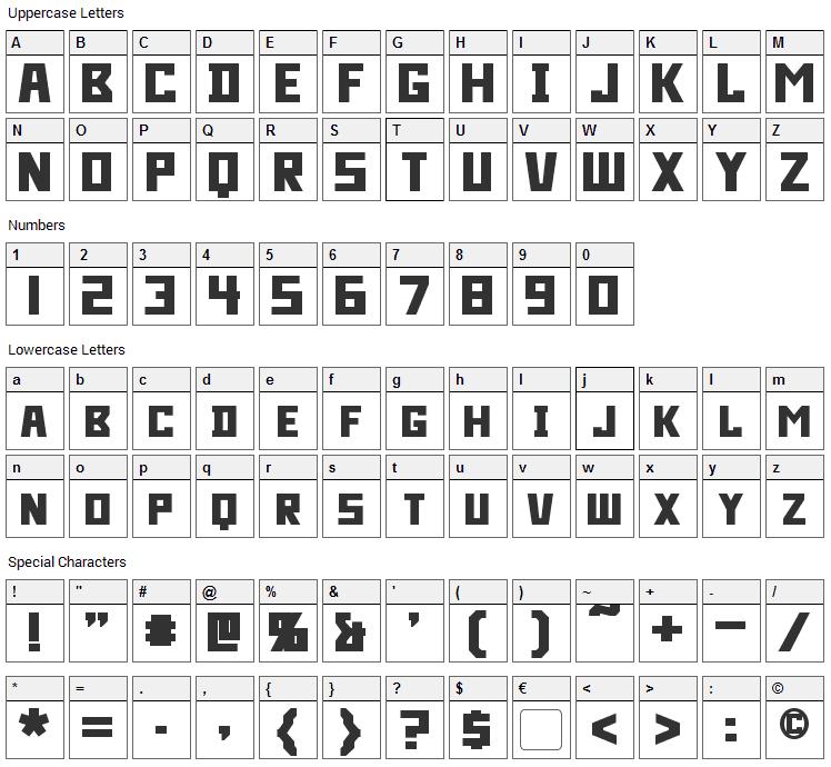 Bidan Font Character Map