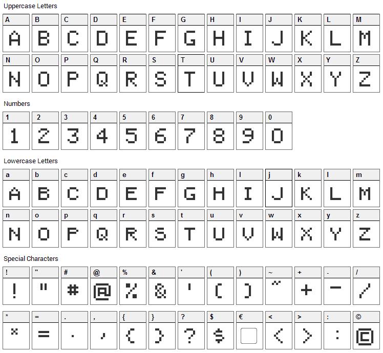 Bienvenu Font Character Map