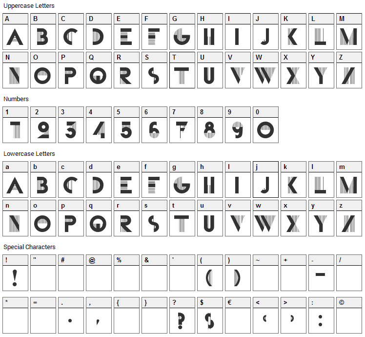 Bifur Font Character Map