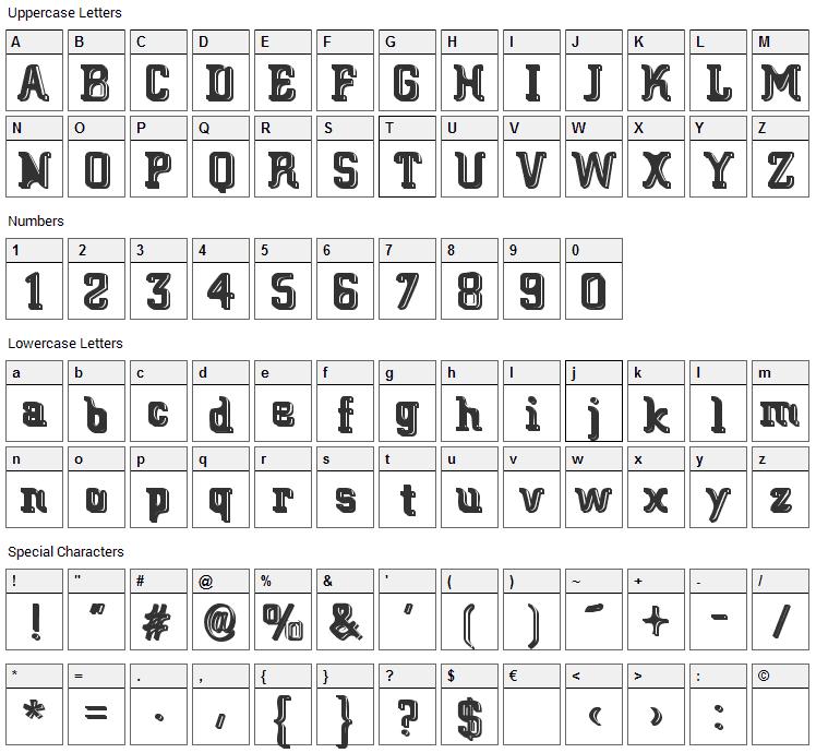 Big Blocko Font Character Map