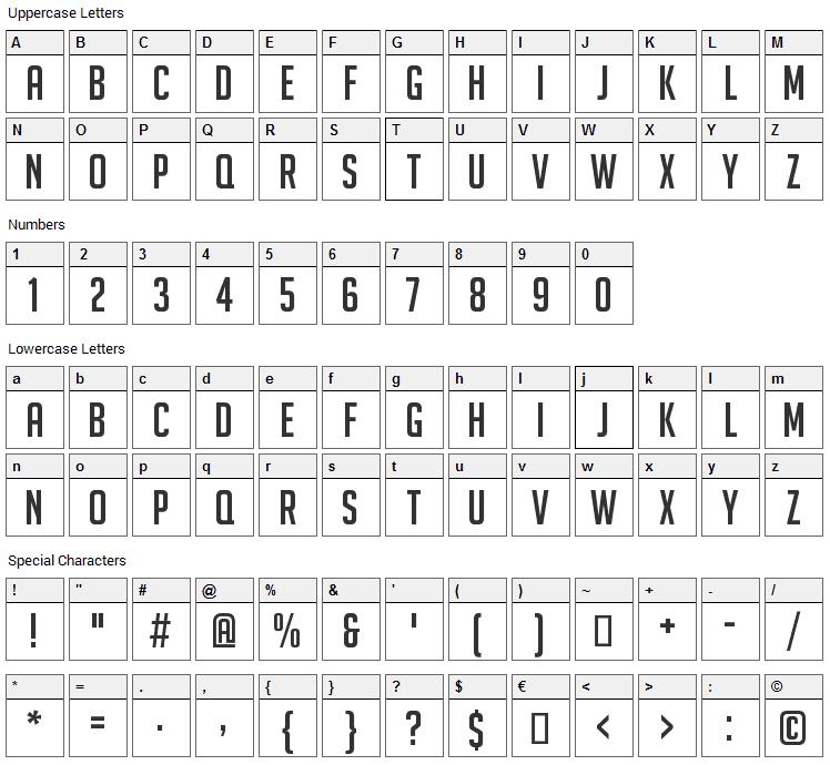 Big Noodle Titling Font Character Map