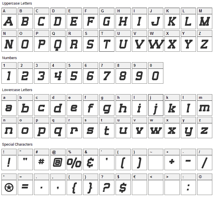Big Whiskey Font Character Map