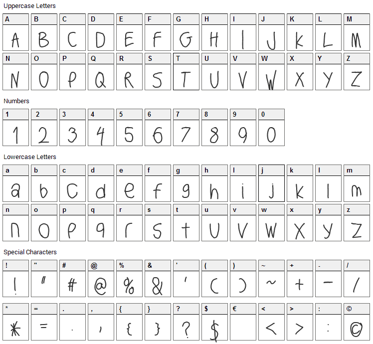Big Writer Font Character Map