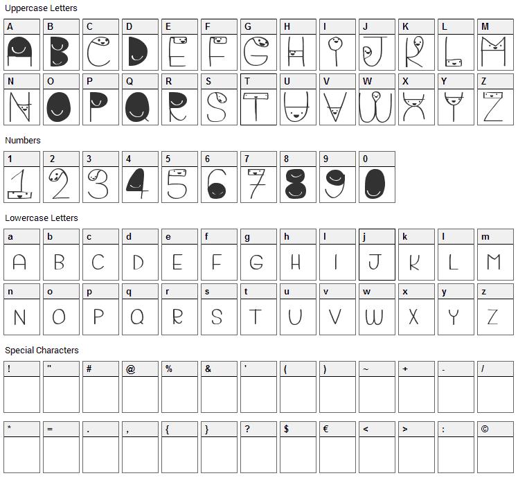 Bigattino Font Character Map