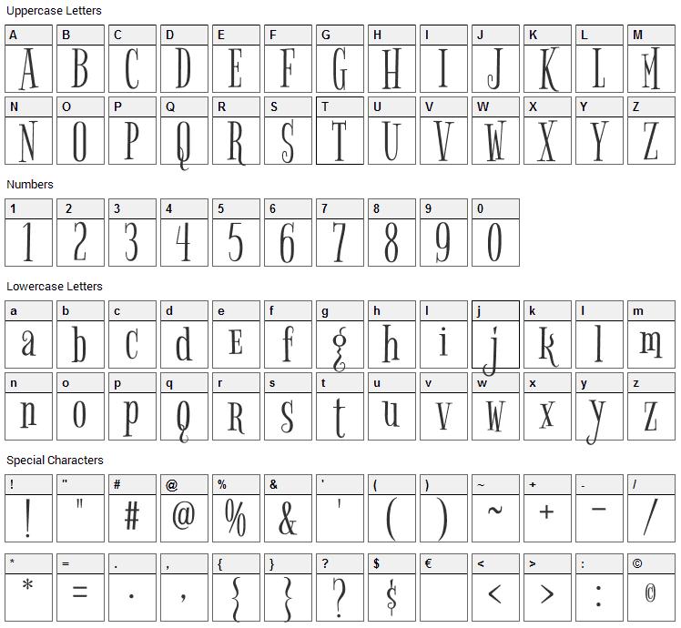 Bigelow Rules Font Character Map