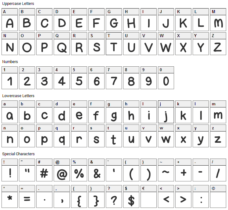 Bigness Font Character Map
