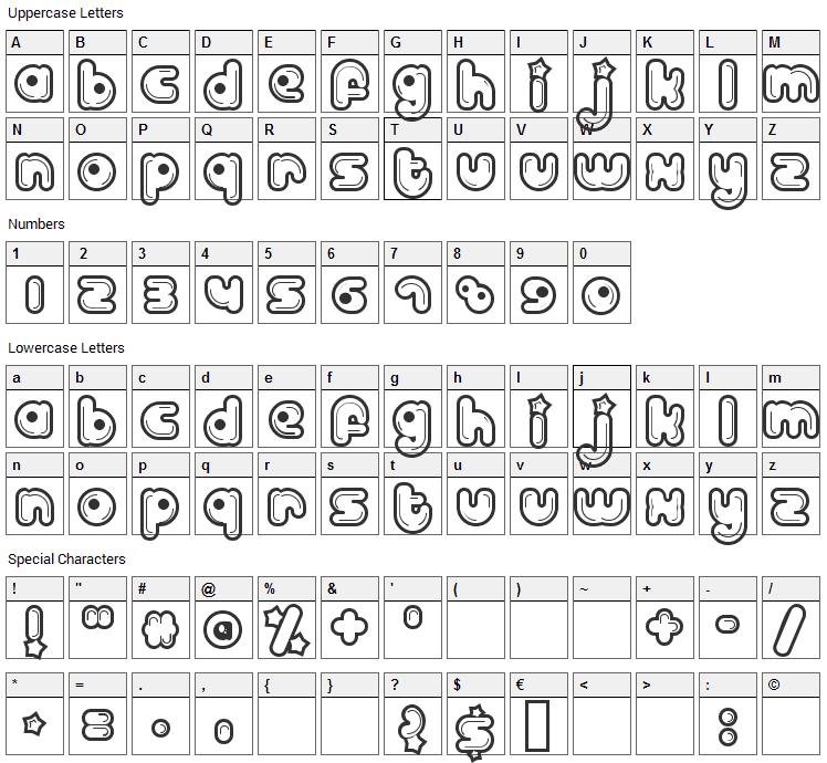 Billo Dream Font Character Map