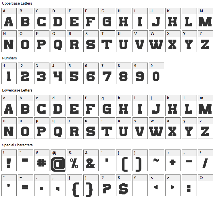 Bills Mafia Font Character Map
