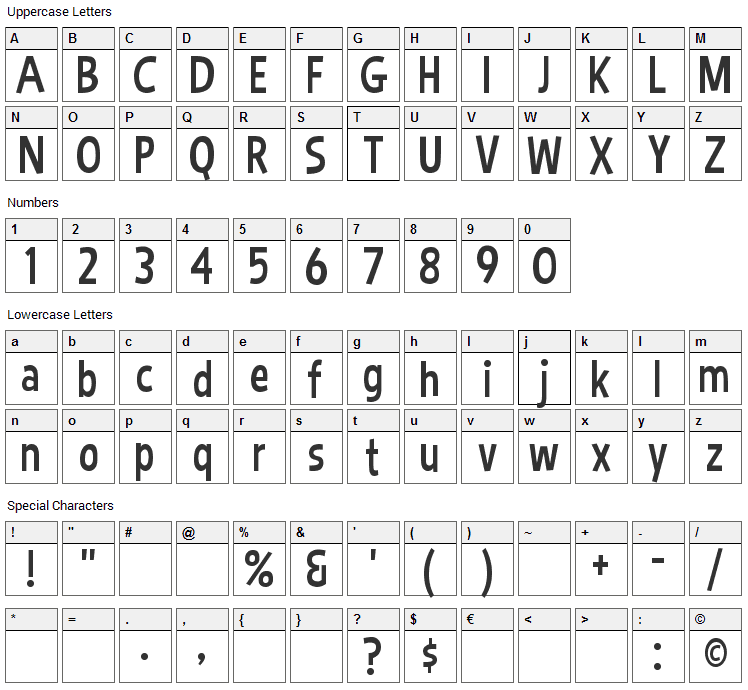 Bimbo Font Character Map