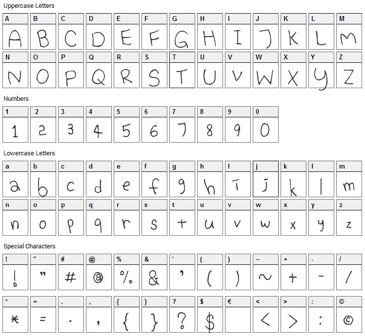 Bina Bina Fun Font Character Map