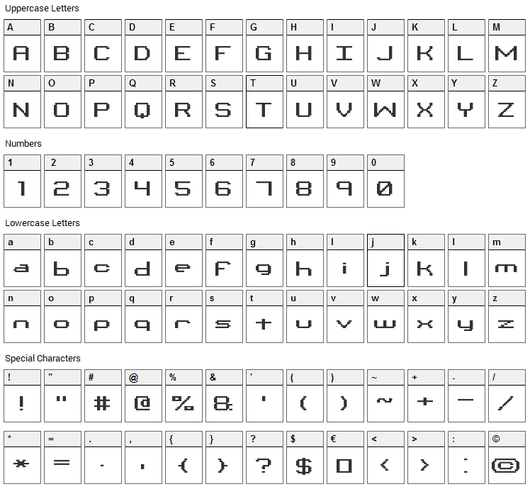 Binary Font Character Map