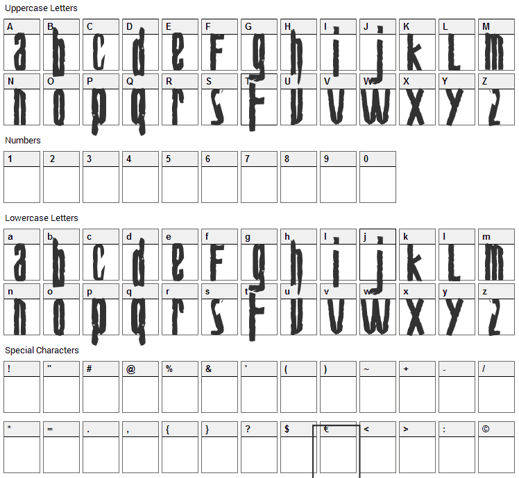 Biohazard Font Character Map