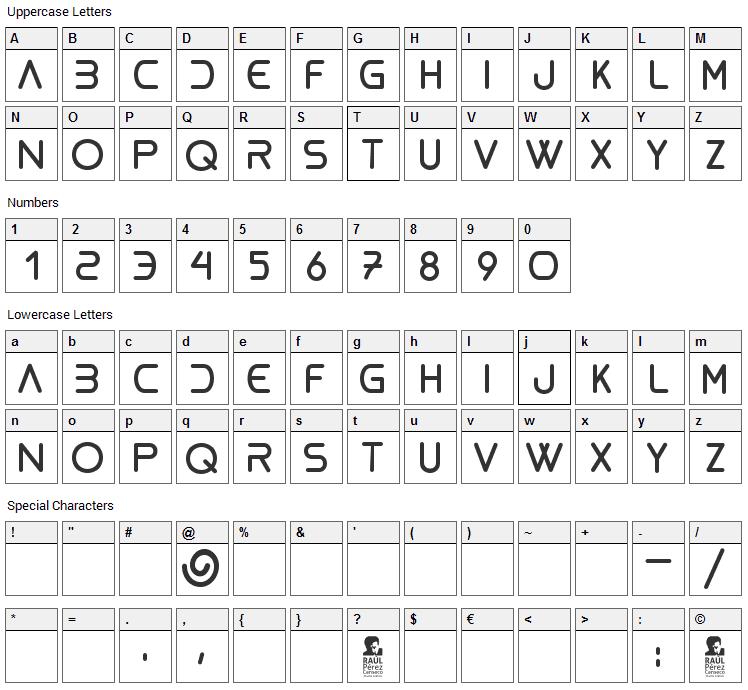 Bioliquid Font Character Map