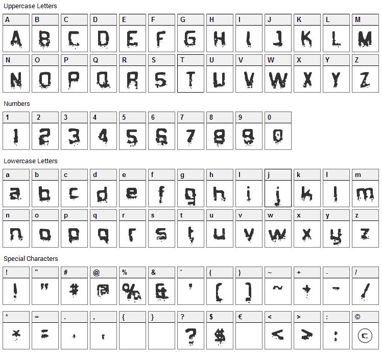 Biometric Joe Font Character Map