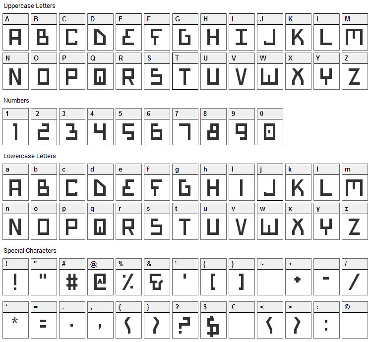 Bionic Type Font Character Map